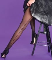 Black Seamed Tights with Cuban Heel